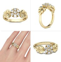 Golden Blossom 925 Sterling Silver Classical CZ Rings For Women Wedding Engagement Female Girlfriend Birthday Gift Ring Jewelry Cluster