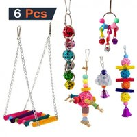 Other Bird Supplies 6PCS Toy Parrot Parakeet Cockatiel Cage Bell Ball Toys Hanging Hammock Swing Small Animal Accessories Playing