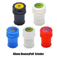 HONEYPUFF Med Container 3 Parts 40mm Plastic Grinder Twist Lock System Herb Grinders Secure Tobacco Smoking Hand Muller DHL