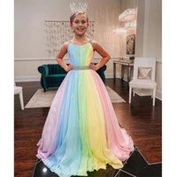 Colorful Chiffon Little Girls Birthday Party Dresses Straps-Neck V Back Sleeveless A-Line Child Prom Gown Kids Boho Wears