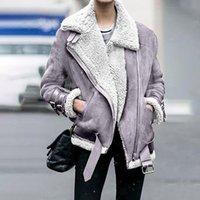 Women's Jackets Fur Long Sleeved Loose Belt Warm Jacket Lamb Wool Winter Thickened Locomotive Lapel Female Coat Black Chic Jacket#f3