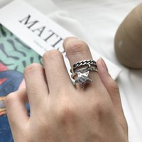 Cluster Rings Vintage Authentic S925 Sterling Silver Fine Jewelry Double Rows Open Chain &letters Engraved Stars Band Tassel J341