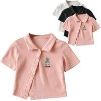 Women's T-Shirt Women Crop Top Brandy Mandy T Shirt Short Sleeve Embroidery Slanted Design Sweet Stretch Slim