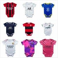الجملة طفل كرة القدم جيرسي 2021 جودة عالية طفل كرة القدم قميص 6-18 أشهر البدلة الزحف