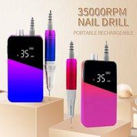 Nail Art Equipment 35000RPM Gradient Color Handle Rechargeable Nails Drill Portable Cordless E File Electric Machine Set