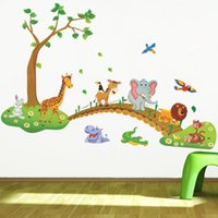 Wall Stickers 3D Cartoon Jungle Wild Animal Tree Bridge Lion Giraffe Elephant Birds Flowers For Kids Room Living Home Decor