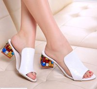 Kleid Schuhe 2021 Marke Große Größen 35-41 Bunte Strasskristalle Heels Peep Toe Sommer Frauen Frau Sandalen Hausschuhe
