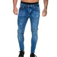 Men's Jeans Puimentiua Mens Skinny 2021 Super Men Gym Sports Stretch Denim Pants Elastic Waist Plus Size European