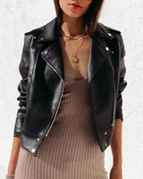 Women's Leather & Faux Pu Female Jacket Lapel Black Motorcycle Ladies Autumn And Winter Ins High Street Short