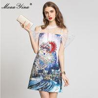 مصمم الأزياء الصيف البسيطة اللباس المرأة مثير قبالة الكتف شبكة الربط الأزهار طباعة الديكور حزب أنيق 210524