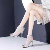 Boots Peep Toe Mesh Hollow Thin Heeled Sandal Women 2021 Spring And Summer High Heels Ankle White LA0026