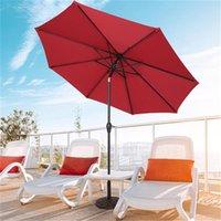 US Stock Shade Central Regenschirm Wasserdichte Falten Sunshade Wein Rot Polyester Stoff Eisenständer Ultra-Feststoff