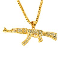 pendant Stainless gold full drill AK47 rifle Pendant Necklace cool fashion hip hop titanium steel jewelry
