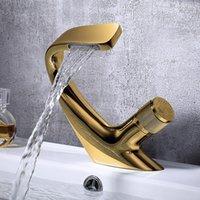 Original Design Luxury Bathroom Sink Faucet Artistic Brass Basin Mixer Tap Single Hole Handle Copper Top Quality Faucets