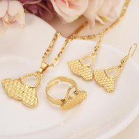Earrings & Necklace Gold Color PNG Pendant Ring Set Women Party Gift African Bag Shape Bridal Wedding Jewelry Girls Charm