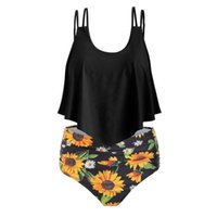 Flounce Floral Waisted Women Sets Summer Beach Boho Swim Set 2 Pieces Bathing Suit Ladies Bikini Plus Size High