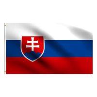 슬로바키아 국기 3x5 FT 150x90CM 100D 폴리 에스터 배너 황동 그로밋 장식 매달려 광고 GWE7364