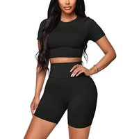 Women's Tracksuits 2 Pc Seamless Yoga Set Sport Suit Women Workout Clothes Athletic Gym Short Sleeve Crop Top Shorts Fitness Sportswear