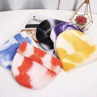 Fashion Tie Dye Beanies Hats for Women Wool Knitted Winter Warm Cap Men Hip Hop Caps Outdoor Bonnet Casual Hat gorras hombre