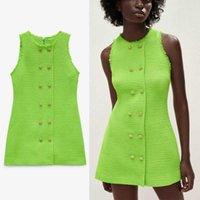 ZA Summer strutturato tessere mini abito da donna vintage senza maniche tweed ufficio abiti signora eleganti chic back zip donna vestito verde vestito verde 210602