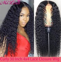 Lace Wigs Deep Wave Closure Wig For Women Human Hair Pre Plucked Remy Natural Hairline 4x4 30 Inch Curly