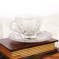 Home breakfast cup retro style sun flower coffee cup with saucer set office restaurant coffee glass cup and saucer