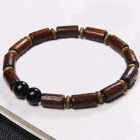 Braccialetto in legno vintage braccialetto in pietra naturale perline rotonda fascino lavica agates maschio classico unico per uomini gioielli regalo perline, fili