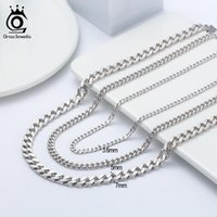 Chains ORSA JEWELS 925 Sterling Silver Cuban Link Curb Chain Width Solid Diamond-Cut Hip-hop Necklace For Men Women Jewelry SC36