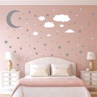 3pcs väggklistermärken per uppsättning stjärnor måne moln diy plated guld silver barn konst väggar dekoration kök 6ym k2