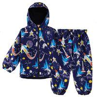 Keaiyouhuo esporte ternos crianças conjuntos de roupas para meninos capa de chuva manga comprida crianças roupas meninas teria traje impermeável 2 a 6 anos 201127