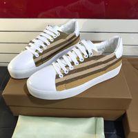 Vintage Check Print Cotton Gabardine Sneakers Designer Men Shoes Women Rubber Sole Leather Trainers Black White Plaid Lace-up Flats Shoe 288