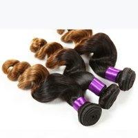 Vague lâche cheveux humains bundels ombre cheveux trame 1b-30 # couleur vague lâche vague double trahing brésilien vierge cheveux de couleur naturelle beauté