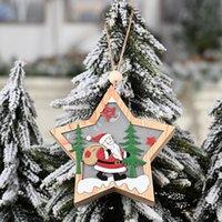 Деревянные DIY Рождественская елка Висит украшения Кулон колокольчики Санта-Клаус Christma Украшения для дома DHD6526