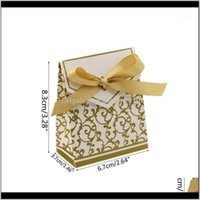 Gift Wrap Event Festive Party Supplies Home & Gardengift Box With Ribbons, Candy Bag, Cake Box, For Wedding Decoration, Gold, 50 Pcs H4Gd1 D