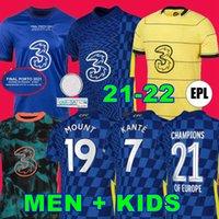 결승 CFC 축구 유니폼 Pulisic Ziyech Havertz Kante Werner Abraham Chilwell Mount Jorginho 2021 2022 Mendy Football Shirt 20 22 22 홈 AWA 4 첼시 남성 + 키즈