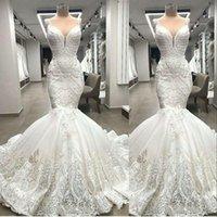 2021 Sexy Arabic Aso Ebi Luxurious Mermaid Wedding Dresses Spaghetti Straps Full Lace Appliques Pearls Beading Sleeveless Plus Size Long Bridal Gowns Robe De Mariee