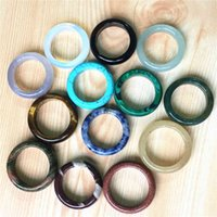 Ny toppkvalitet Onyx Agates Carnelian Opal Sands Unakite Fashion Natural Stone Finger Ringar för Kvinnor Män 10st 6mm 17 # 18 # 20 #