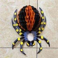 Vintage Honeycomb Crepe Papel Araña de Halloween de Halloween en Web Gran Gigante Gigante Arañas de gran tamaño Partido Fantasma Fantasma Props Props Home Garden Wall Colgadores G89VDLC