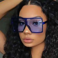 2021 Trend Moda Square One Piece Big Frame Sun Glass Shad marca Digner Sunglass Oversized para mulheres homens UV400D