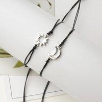 2Pcs Bracelets Set For Women Handmade Braided Black Thread Rope Bohemian Sun & Moon Charm Couples
