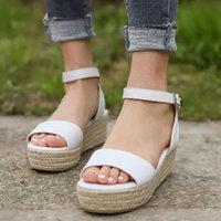 Женщины Сандалии Летняя Обувь Ремешок Сандалия Платформа Клинья Вскользь Женщина Peep Toe Zapatos de Mujer Drop R3DE #