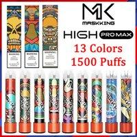 100% autêntico Maskking High Pro Max Disable Vape Cigarros Eletrônicos 1500 Puffs 4.5ml Cartucho pronto para usar o bocal transparente 13 cores vapores