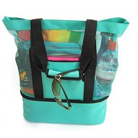 Storage Bags Thermal Insulation Beach Lunch Bag Net Women Handbag Double Layers Food Portable Large Capacity Outdoor Backpack