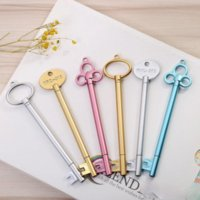 Party Favor Creative Key Shape 0.5 mm Gel Pens Black Ink Kawaii School Stationery Kids Gifts Golden Sliver Blue