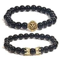 Bracelet pour hommes Head Lion et Bracelet de couronne 8mm Bracelet en âge d'agate noir 8mm