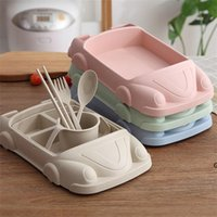 5pcs lot Cartoon Cute Square Car Train Airplane Baby Feeding Set Fruit Dish Thick Plate Dinnerware Table Dishes for Kids HWA5433