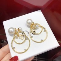 D home   Dijia pearl letter CD women's simple Earrings 925 silver needle jewelry independent packaging