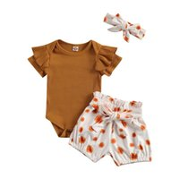 Baby Girls Casual Outfit Romper Floral Print Shorts Headband Born Set Kids Infant Clothing Sets