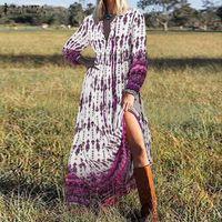 Abiti casual Donne Bohemian Maxi Dress Long Vestito a V Neck Pulvel Sleeve Sleevess Sundess Zanzea Elegante Beach Vestidos Stampa floreale floreale Kaftan