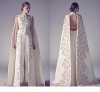 2020 New Arabic Evening Dresses Zuhair Murad High Neck Applique Sheath Pageant Split Front Best Formal Evening Dress For Long Prom Gowns
